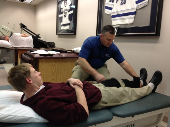 Michael at his first physical therapy appointment.
