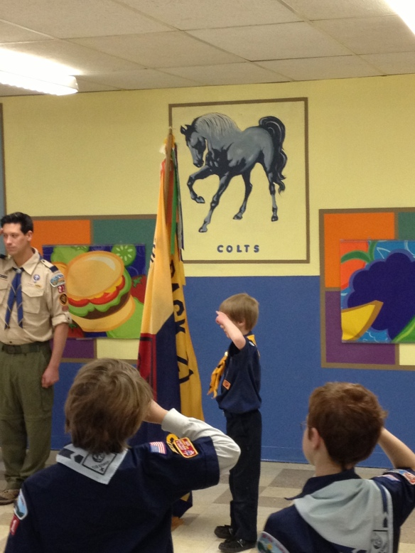 Tommy as Cub Scout color guard.....and so excited!