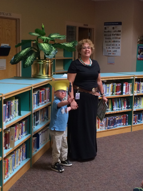 "Waving good-bye to Kindergarten with Mrs. Mohr......Peter was awarded ""The Most Improved Student"" award this year! - June 2014"